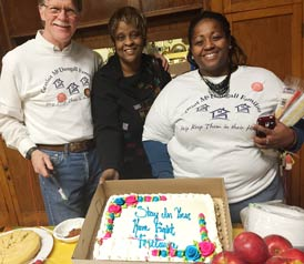 Jim, Urelene and Ann with cake: Stay in your home, fight foreclosure
