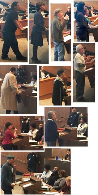 A collage of citizens as they speak one by one against tax foreclosures