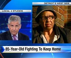 TV news story on '85-year-old fighting to keep home'